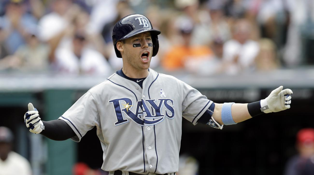 Tampa Bay Rays' Jake Elmore reacts after striking out against Cleveland Indians relief pitcher Cody Allen in the ninth inning of a baseball game, Sunday, June 21, 2015, in Cleveland. (AP Photo/Tony Dejak)