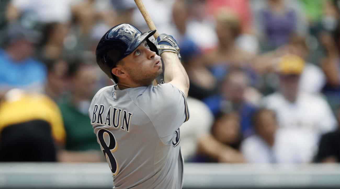 Milwaukee Brewers' Ryan Braun follows the flight of his triple off Colorado Rockies starting pitcher Chris Rusin in the fourth inning of a baseball game Sunday, June 21, 2015, in Denver. (AP Photo/David Zalubowski)