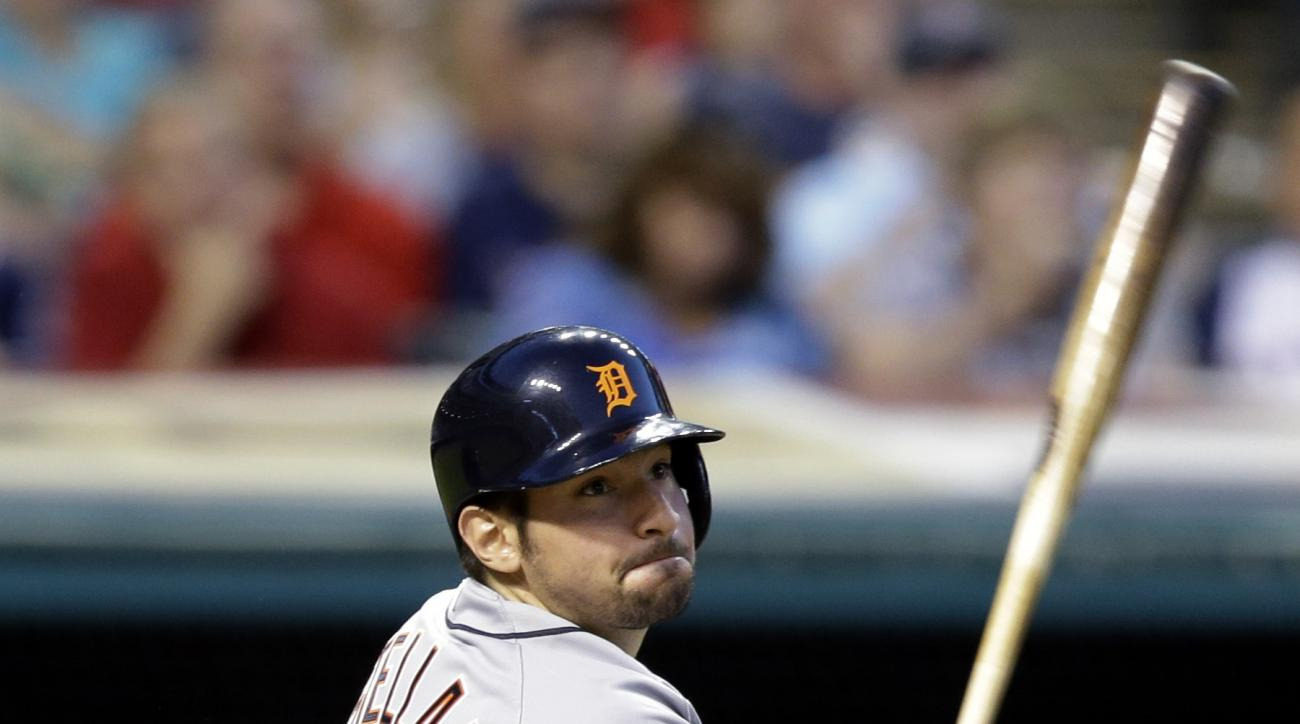 Detroit Tigers' Nick Castellanos watches his two-run double off Cleveland Indians relief pitcher Zach McAllister during the fifth inning of a baseball game, Tuesday, June 23, 2015, in Cleveland. (AP Photo/Tony Dejak)