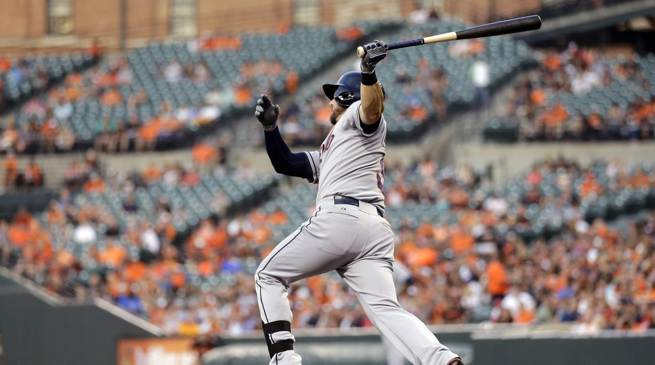Cleveland Indians' Ryan Raburn watches his solo home run in the fourth inning of a baseball game against the Baltimore Orioles, Friday, June 26, 2015, in Baltimore. (AP Photo/Patrick Semansky)