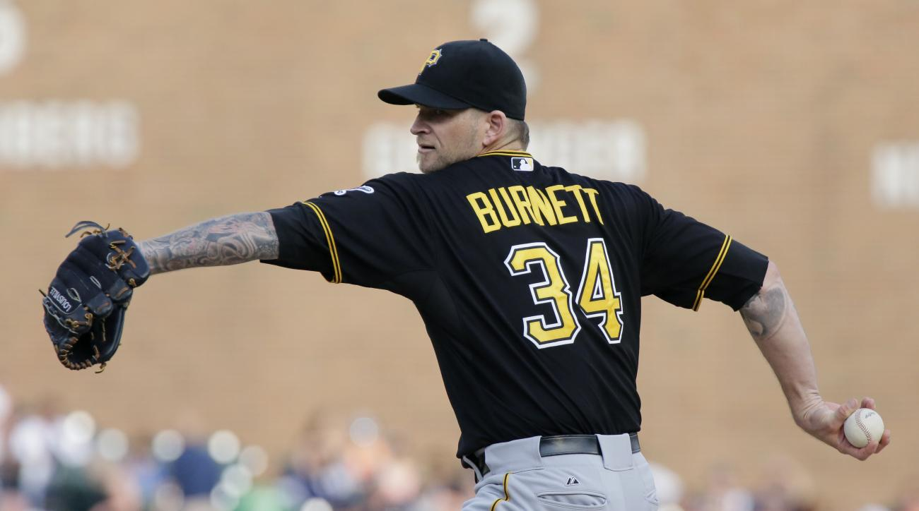 Pittsburgh Pirates' A.J. Burnett pitches against the Detroit Tigers during the first inning of a  baseball game Wednesday, July 1, 2015, in Detroit. (AP Photo/Duane Burleson)