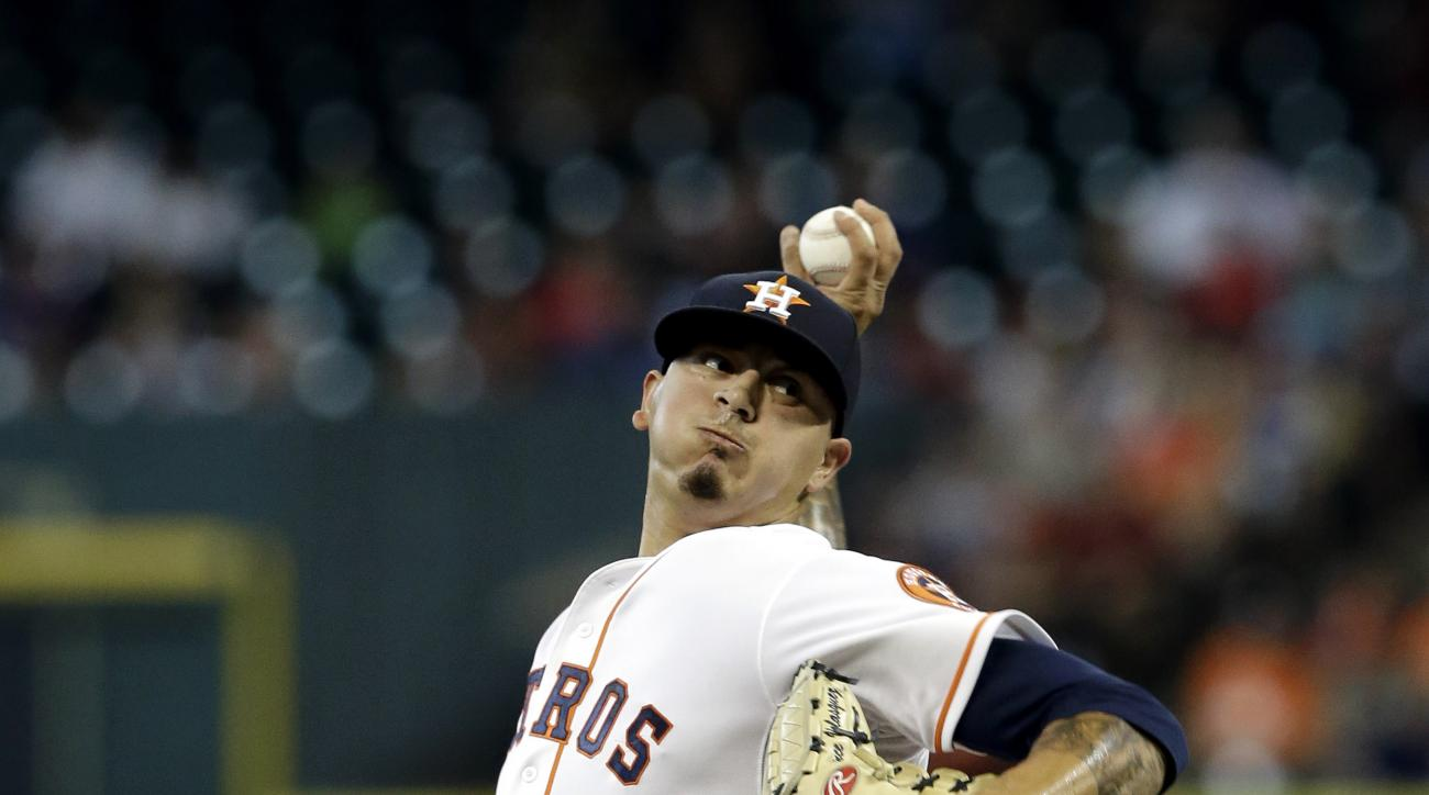 Houston Astros' Vincent Velasquez delivers a pitch against the Kansas City Royals in the first inning of a baseball game Wednesday, July 1, 2015, in Houston. (AP Photo/Pat Sullivan)