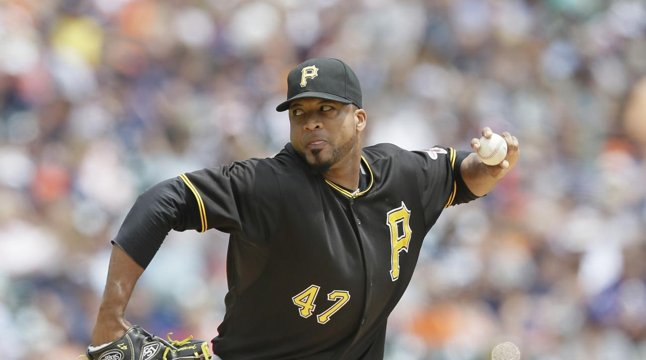 Pittsburgh Pirates starting pitcher Francisco Liriano throws during the first inning of a baseball game against the Detroit Tigers, Thursday, July 2, 2015, in Detroit. (AP Photo/Carlos Osorio)