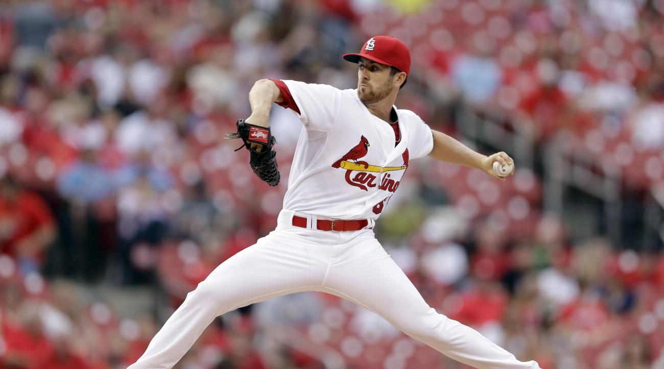St. Louis Cardinals starting pitcher Tim Cooney throws during the first inning of a baseball game against the San Diego Padres Thursday, July 2, 2015, in St. Louis. (AP Photo/Jeff Roberson)