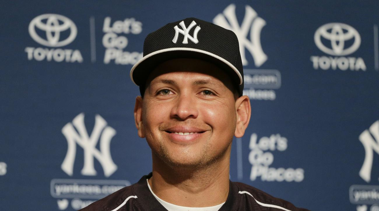 New York Yankees Alex Rodriguez answers questions during a news conference in which he was presented with the ball of his 3,000th career hit, Friday, July 3, 2015, in New York. Rodriguez received the ball back from Zack Hample, a fan who caught the solo h