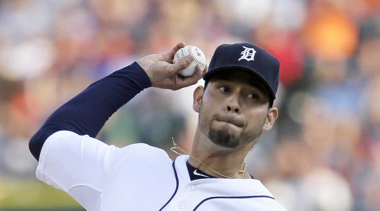 Detroit Tigers pitcher Anibal Sanchez delivers against the Toronto Blue Jays during the first inning of a baseball game Friday, July 3, 2015, in Detroit. (AP Photo/Duane Burleson)