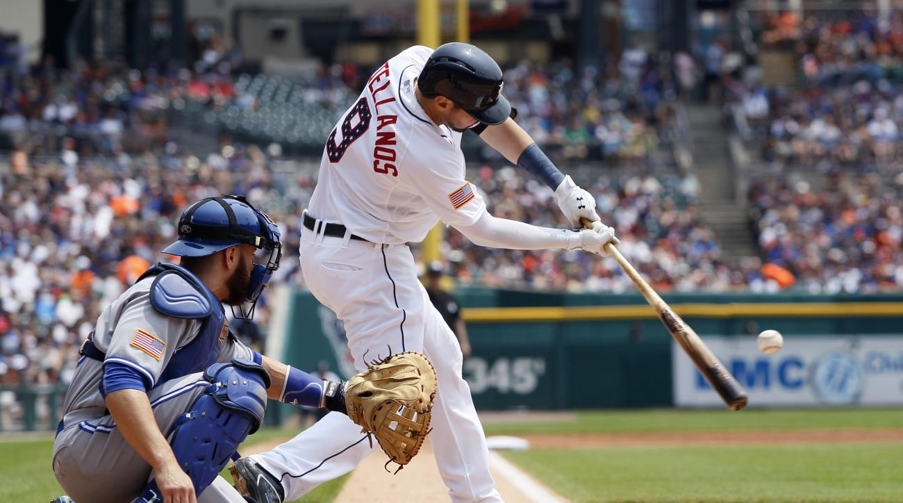Detroit Tigers' Nick Castellanos hits a double against the Toronto Blue Jays during the first inning of a baseball game Saturday, July 4, 2015, in Detroit. (AP Photo/Duane Burleson)