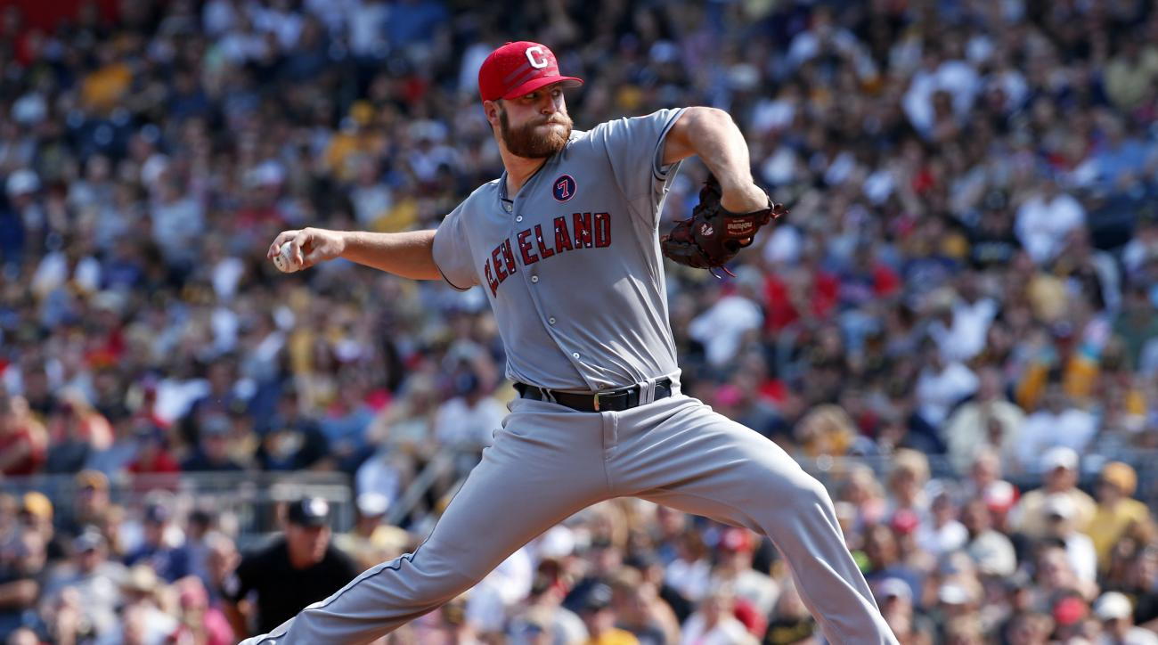 Cleveland Indians starting pitcher Cody Anderson delivers during the first inning of a baseball game against the Pittsburgh Pirates in Pittsburgh on Saturday, July 4, 2015.(AP Photo/Gene J. Puskar)