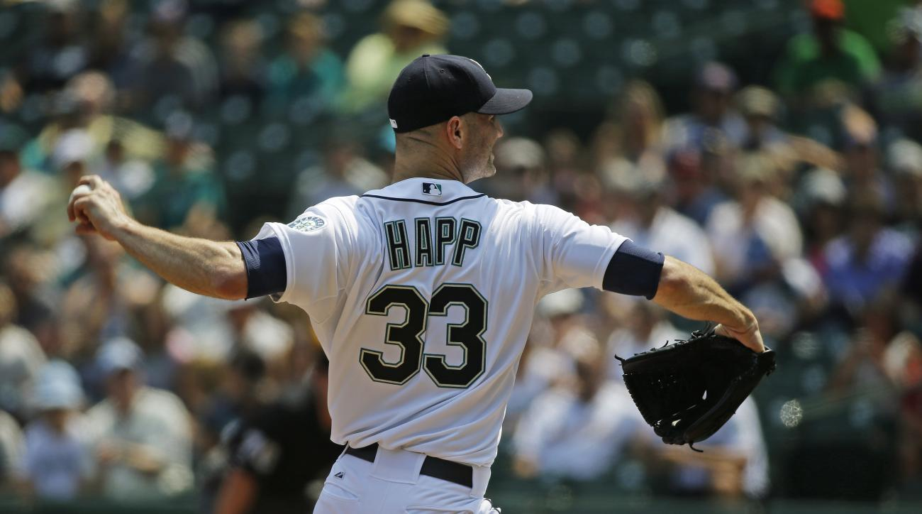 Seattle Mariners starting pitcher J.A. Happ throws in the first inning of a baseball game against the Detroit Tigers, Wednesday, July 8, 2015, in Seattle. (AP Photo/Ted S. Warren)