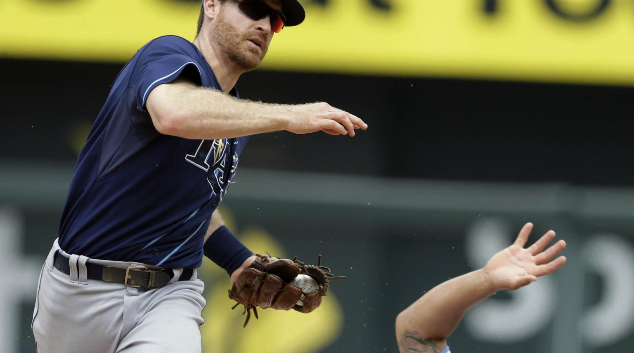 Kansas City Royals' Cheslor Cuthbert (19) beats the force out by Tampa Bay Rays second baseman Logan Forsythe, left, and was safe on the play during the eighth inning of a baseball game at Kauffman Stadium in Kansas City, Mo., Thursday, July 9, 2015. The