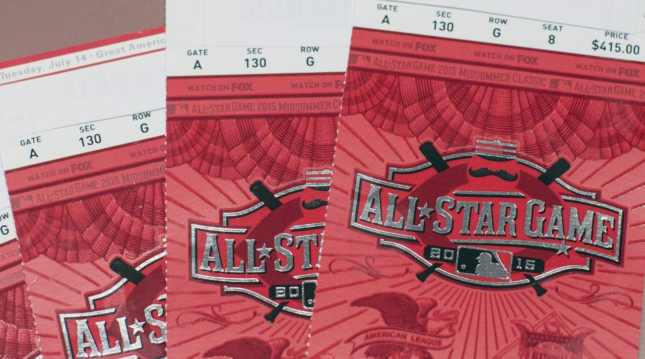 This photo shows All-Star Baseball Game tickets at Riverfront Choice Tickets, which also goes by 333seat.com, Friday, July 10, 2015, in Cincinnati. With the game sold out for weeks and the host city within a six-hour drive for fans in a half-dozen other M