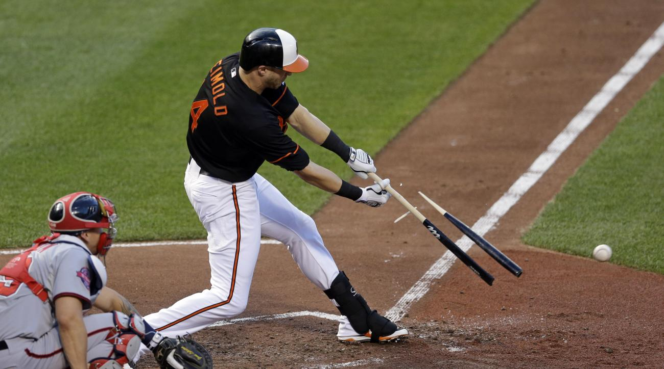 Baltimore Orioles' Nolan Reimold breaks his bat as he singles in front of Washington Nationals catcher Jose Lobaton in the second inning of an interleague baseball game, Friday, July 10, 2015, in Baltimore. (AP Photo/Patrick Semansky)