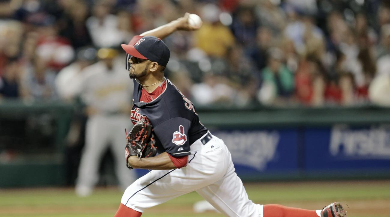 Cleveland Indians starting pitcher Danny Salazar delivers in the ninth inning of a baseball game against the Oakland Athletics, Friday, July 10, 2015, in Cleveland. Salazar pitched 8 2/3 innings and gave up five hits and one run. The Indians won 5-1. (AP