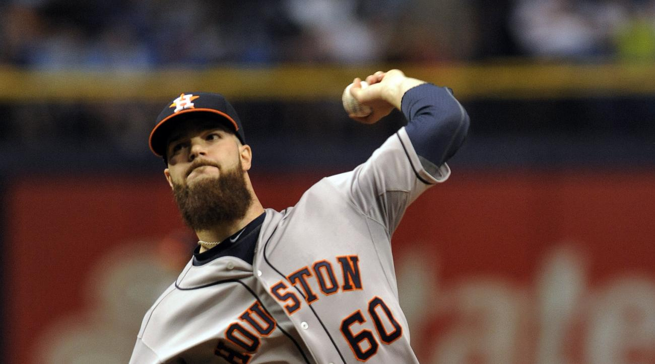 Houston Astros starter Dallas Keuchel pitches against the Tampa Bay Rays during the first inning of a baseball game Saturday, July 11, 2015, in St. Petersburg, Fla. (AP Photo/Steve Nesius)