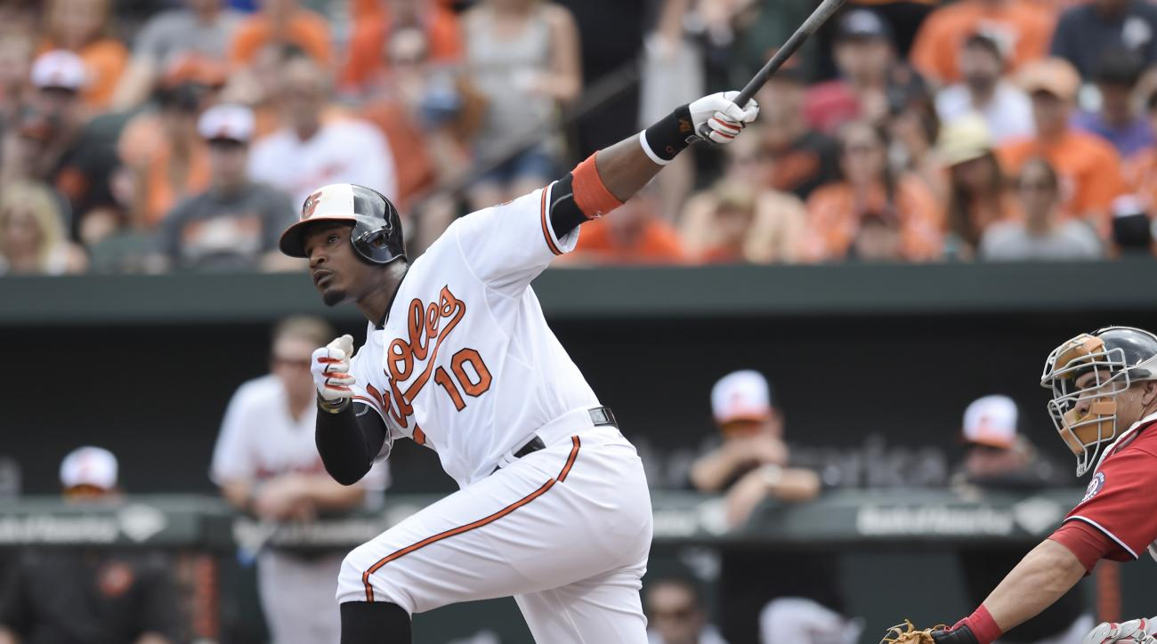 Baltimore Orioles' Adam Jones follows through on a solo home run against the Washington Nationals in the first inning of a baseball game, Sunday, July 12, 2015, in Baltimore. (AP Photo/Gail Burton)