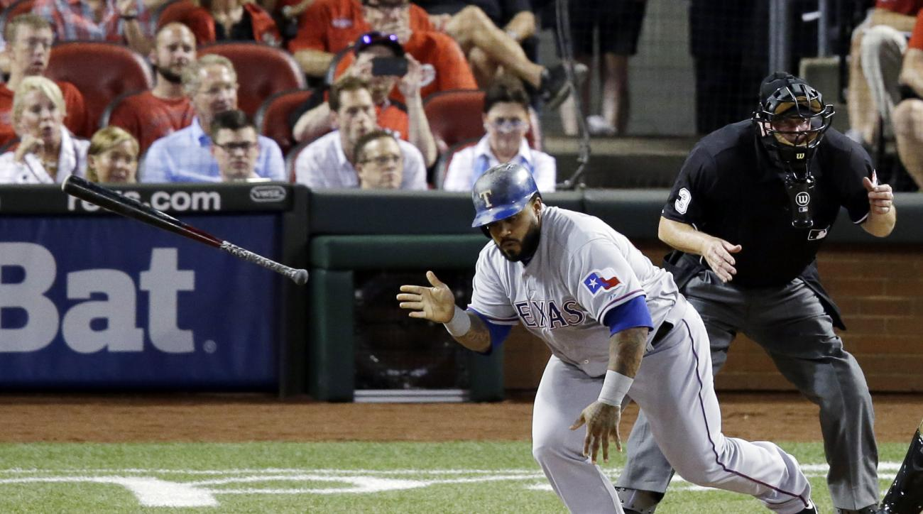American League's Prince Fielder, of the Texas Rangers, hits an RBI single during the fifth inning of the MLB All-Star baseball game, Tuesday, July 14, 2015, in Cincinnati. (AP Photo/Michael E. Keating )