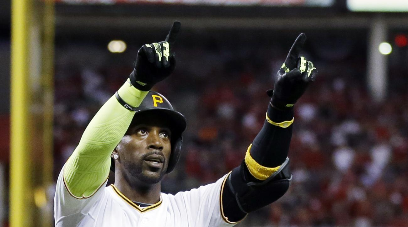 National League's Andrew McCutchen, of the Pittsburgh Pirates, reacts after hitting a home run during the sixth inning of the MLB All-Star baseball game, Tuesday, July 14, 2015, in Cincinnati. (AP Photo/Jeff Roberson)