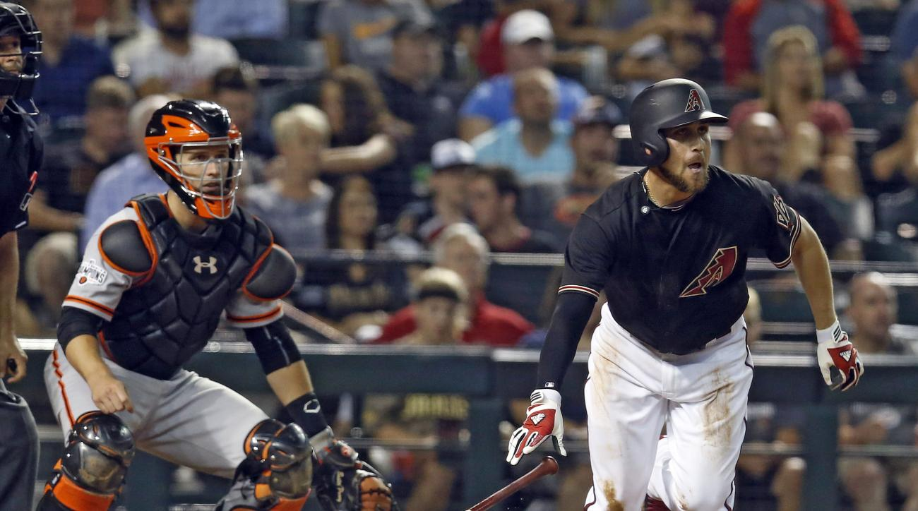 Arizona Diamondbacks Ender Inciarte hits an RBI single in the fifth inning during a baseball game against the San Francisco Giants, Saturday, July 18, 2015, in Phoenix. (AP Photo/Rick Scuteri)