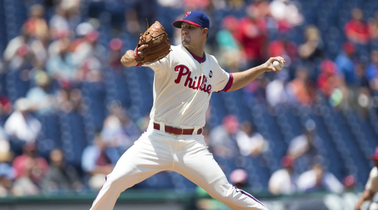 Philadelphia Phillies starting pitcher Adam Morgan throws a pitch during the first inning of a baseball game against the Tampa Bay Rays, Wednesday, July 22, 2015, in Philadelphia. (AP Photo/Chris Szagola)