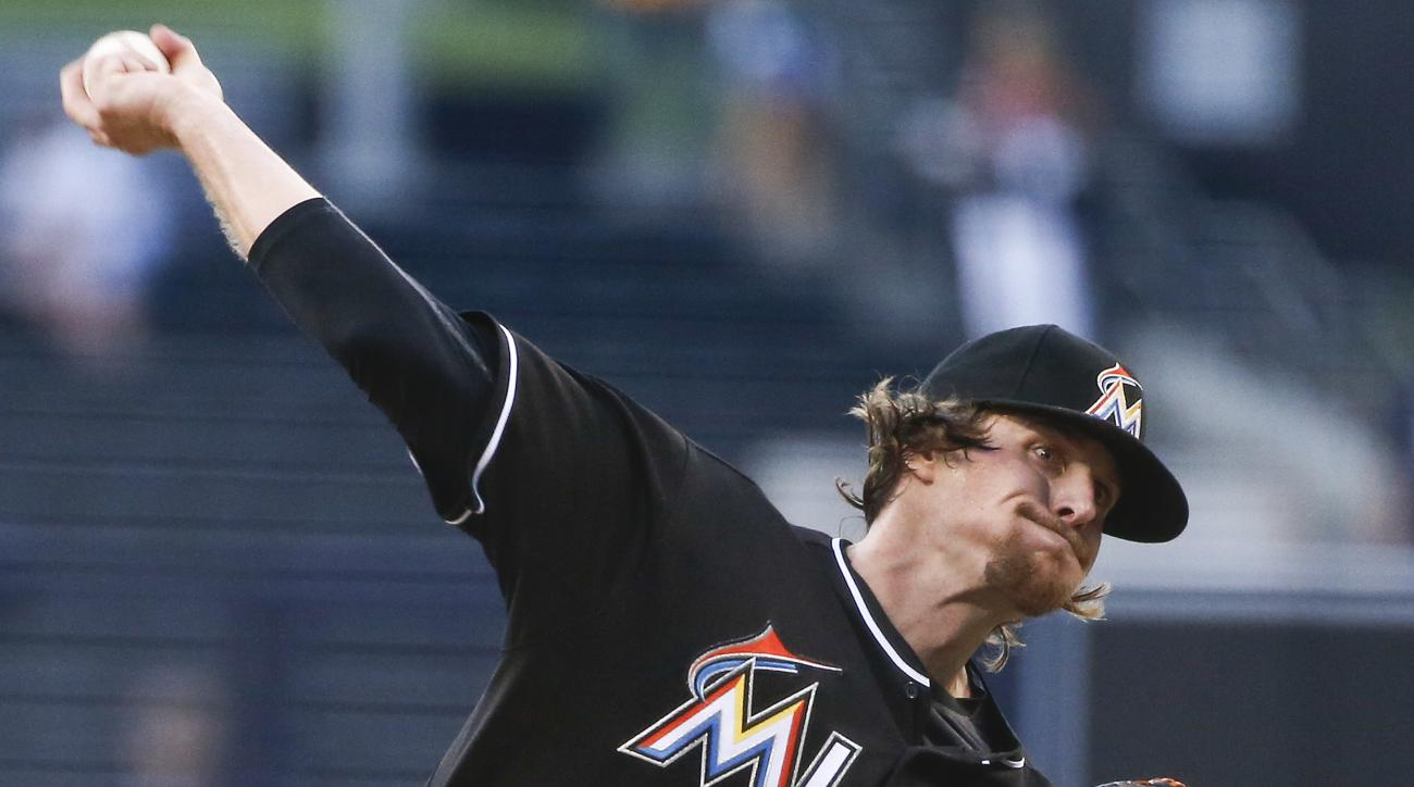 Miami Marlins starting pitcher Tom Koehler throws to a San Diego Padres batter during the first inning of a baseball game Thursday, July 23, 2015, in San Diego. (AP Photo/Lenny Ignelzi)