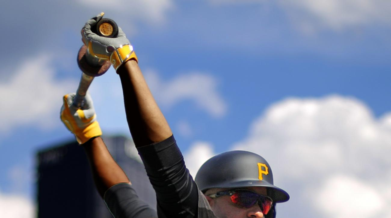 Pittsburgh Pirates Aramis Ramirez stretches before taking his turn in the batting cage before a baseball game against the Washington Nationals in Pittsburgh, Saturday, July 25, 2015. Ramirez, acquired in a trade from the Chicago Cubs, will make his first