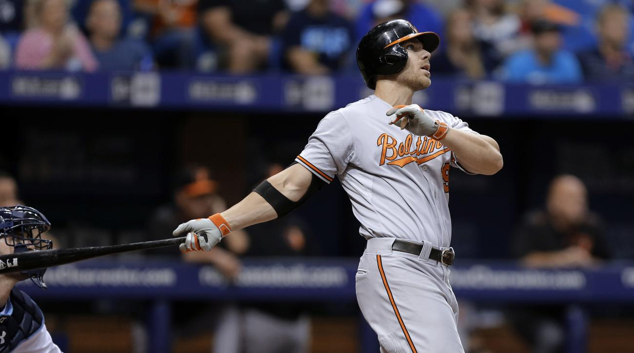 Baltimore Orioles' Chris Davis watches his grand slam off Tampa Bay Rays starting pitcher Erasmo Ramirez during the third inning of a baseball game Saturday, July 25, 2015, in St. Petersburg, Fla. (AP Photo/Chris O'Meara)