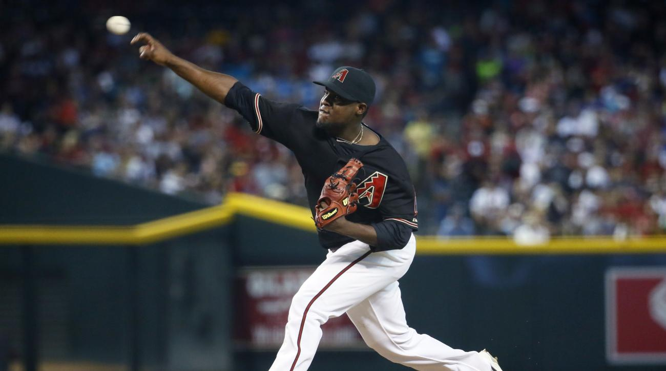 Arizona Diamondbacks Rubby De La Rosa throws against the Milwaukee Brewers during the first inning of a baseball game, Saturday, July 25, 2015, in Phoenix. (AP Photo/Matt York)