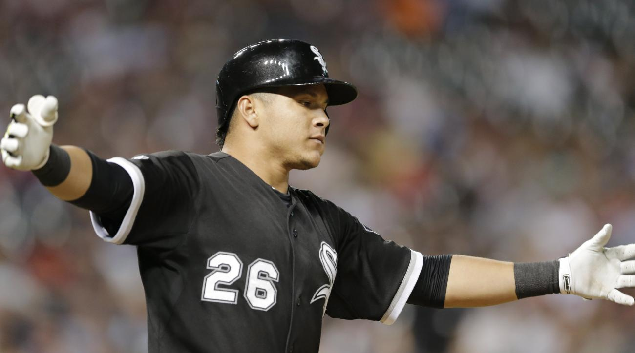 Chicago White Sox's Avisail Garcia reacts after hitting a RBI-single in the ninth inning of a baseball game against the Cleveland Indians, Saturday, July 25, 2015, in Cleveland. Melky Cabrera scored on the play. The White Sox won 10-3. (AP Photo/Tony Deja