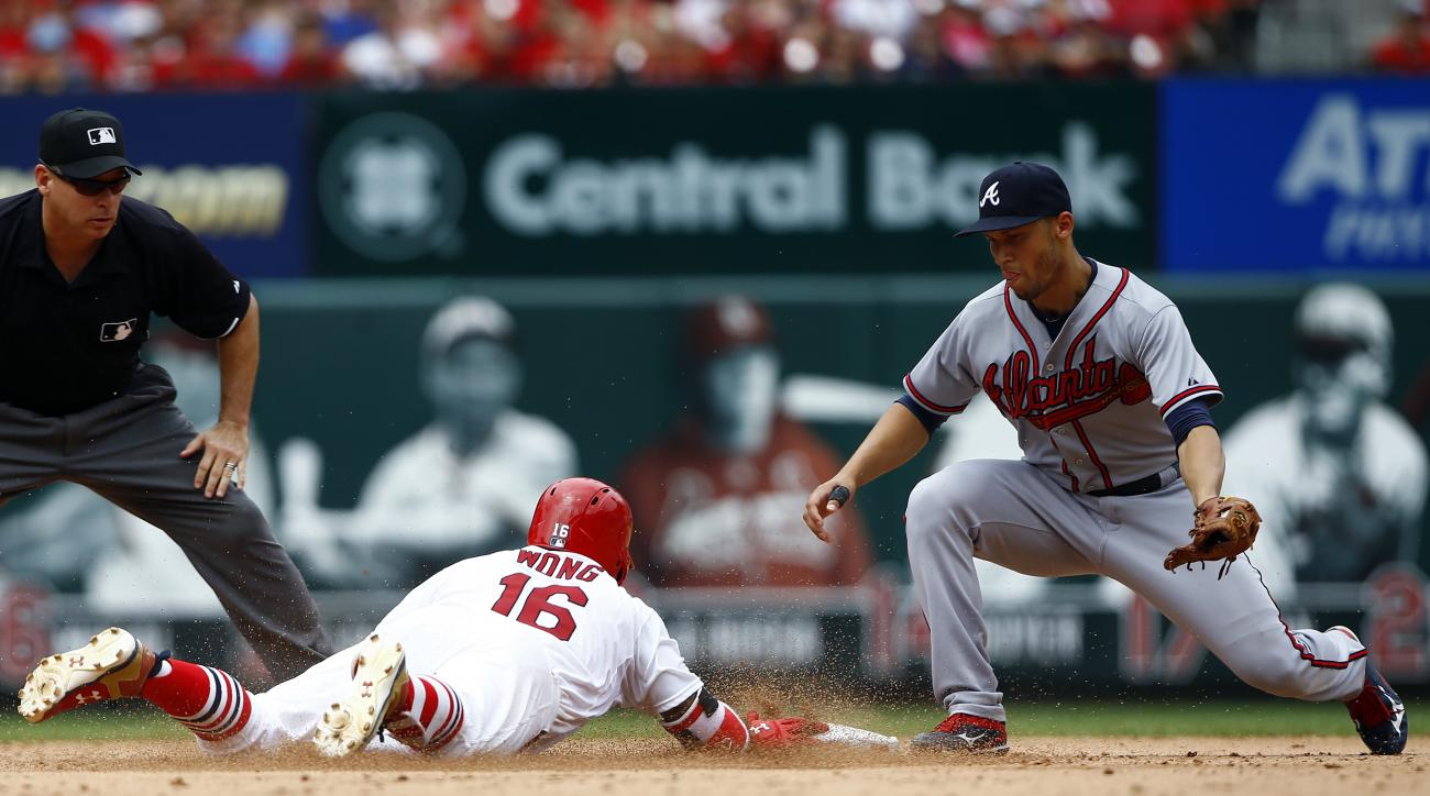 St. Louis Cardinals' Kolten Wong (16) slides safely into second base ahead of the tag from Atlanta Braves shortstop Andrelton Simmons, right, during the fifth inning of a baseball game Sunday, July 26, 2015, in St. Louis. (AP Photo/Billy Hurst)