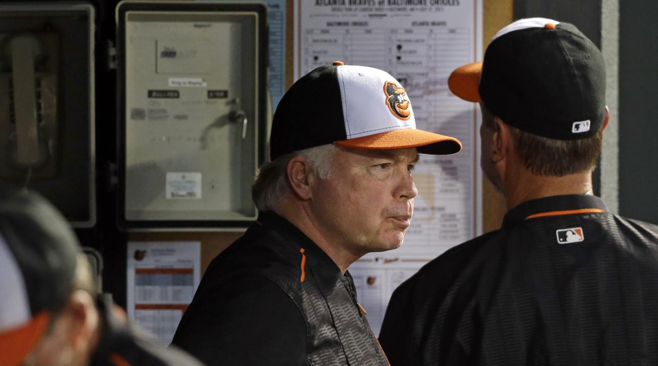 Baltimore Orioles manager Buck Showalter stands in the dugout in the sixth inning of an interleague baseball game against the Atlanta Braves, Monday, July 27, 2015, in Baltimore. Baltimore won 2-1 in 11 innings. (AP Photo/Patrick Semansky)