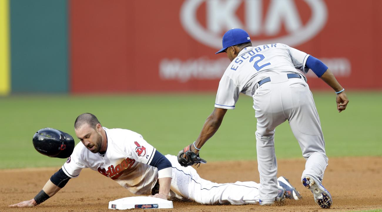 Kansas City Royals' Alcides Escobar tags out Cleveland Indians' Jason Kipnis on a steal to second base in the first inning of a baseball game, Tuesday, July 28, 2015, in Cleveland. (AP Photo/Tony Dejak)