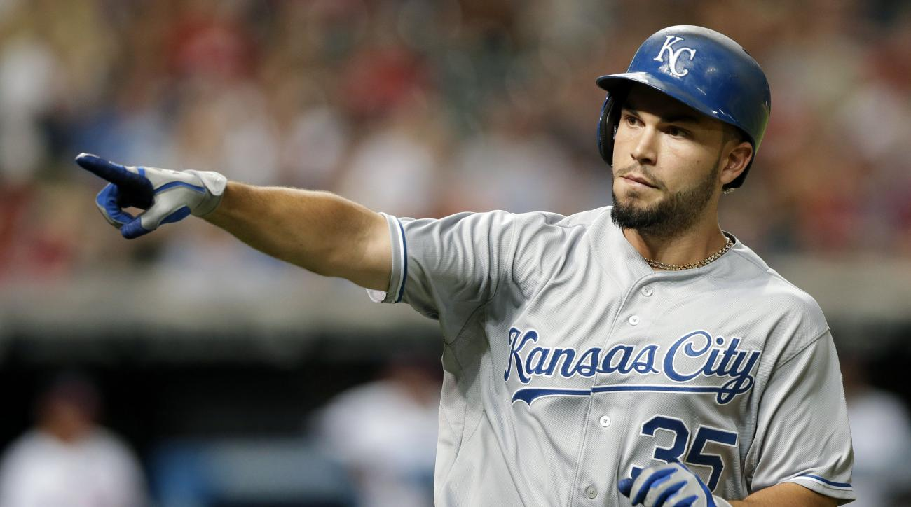 Kansas City Royals' Eric Hosmer points to the Royals dugout after hitting a solo home run off Cleveland Indians starting pitcher Trevor Bauer in the ninth inning of a baseball game, Tuesday, July 28, 2015, in Cleveland. (AP Photo/Tony Dejak)