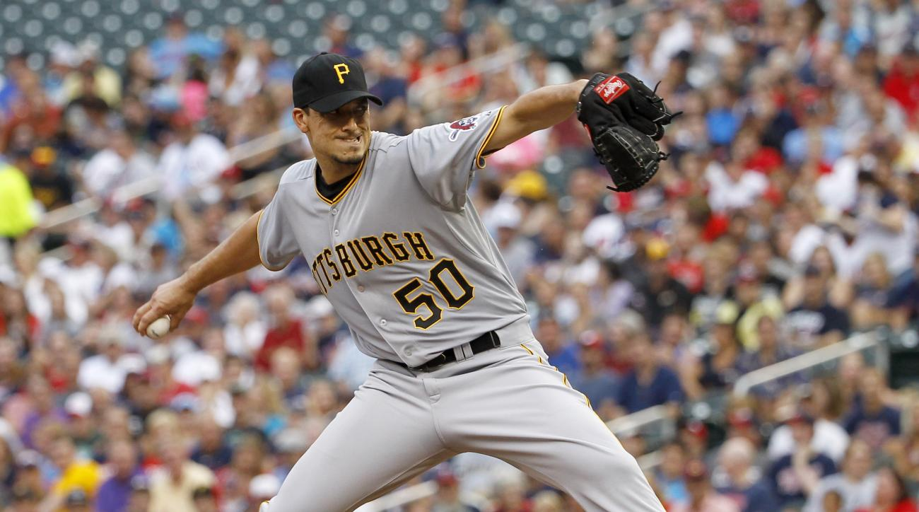 Pittsburgh Pirates starting pitcher Charlie Morton (50) delivers to the Minnesota Twins during the first inning of a baseball game in Minneapolis, Tuesday, July 28, 2015. (AP Photo/Ann Heisenfelt)