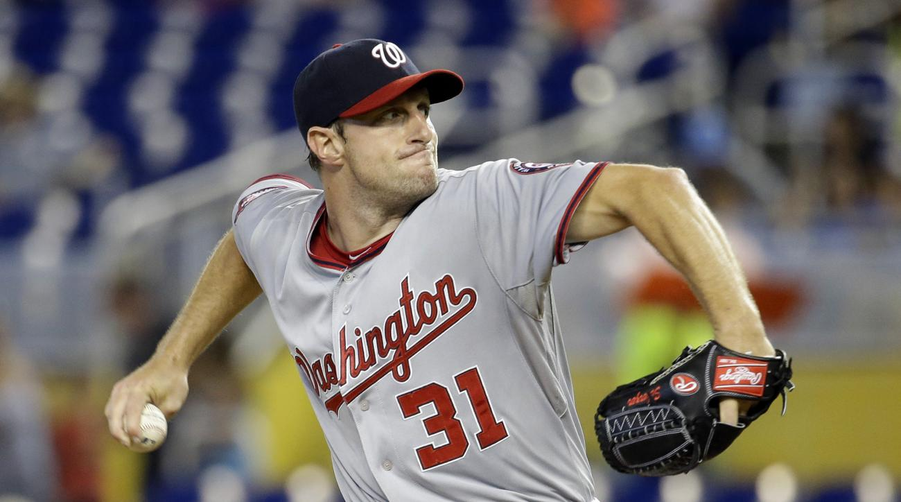 Washington Nationals starting pitcher Max Scherzer (31) throws in the first inning of a baseball game against the Miami Marlins, Thursday, July 30, 2015, in Miami.  (AP Photo/Lynne Sladky)
