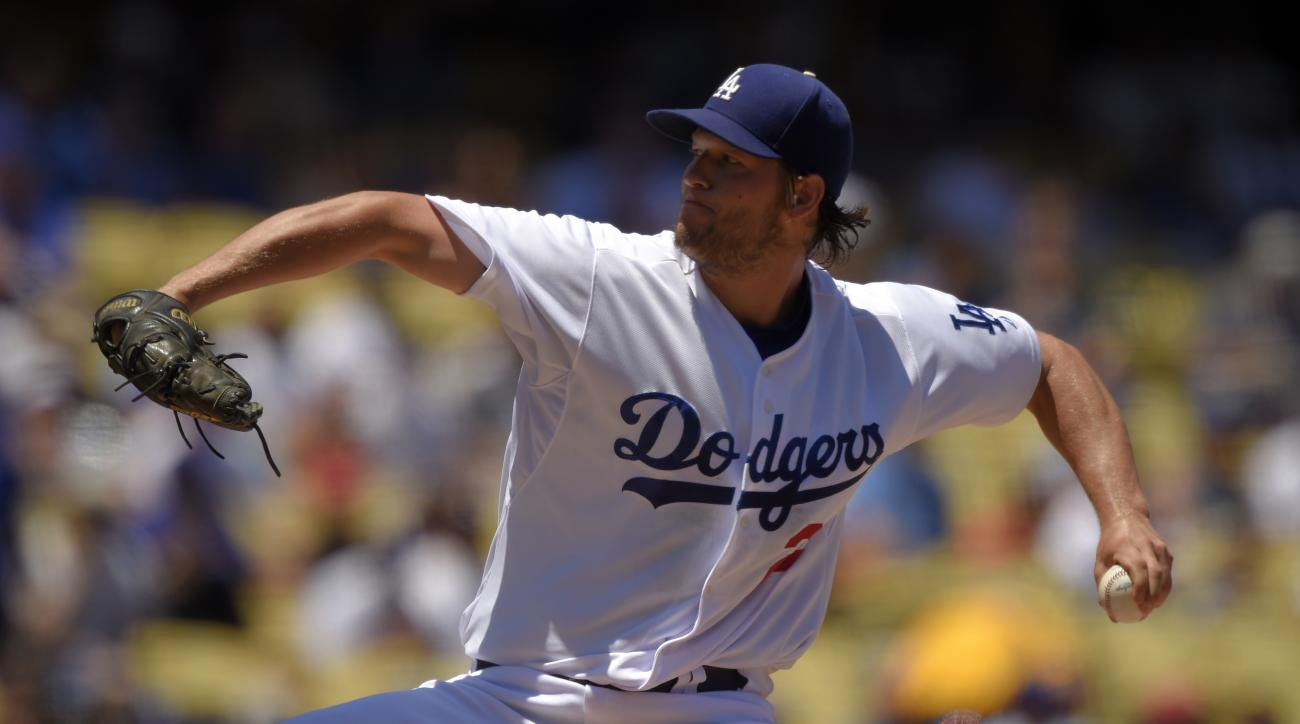 Los Angeles Dodgers starting pitcher Clayton Kershaw throws to the plate during the second inning of a baseball game against the Los Angeles Angels, Saturday, Aug. 1, 2015, in Los Angeles. (AP Photo/Mark J. Terrill)