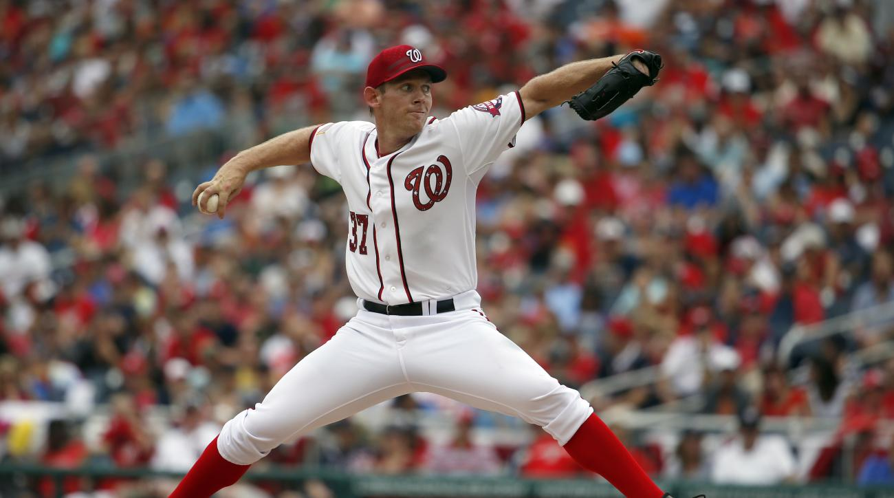 Washington Nationals starting pitcher Stephen Strasburg (37) throws during a baseball game against the San Francisco Giants at Nationals Park, Saturday, July 4, 2015, in Washington. (AP Photo/Alex Brandon)