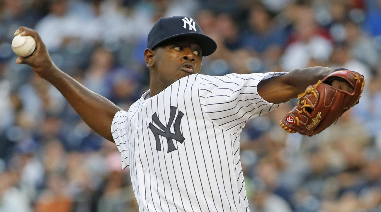 Making his Major League baseball debut, New York Yankees starting pitcher Luis Severino delivers in a baseball game against the Boston Red Sox at Yankee Stadium in New York, Wednesday, Aug. 5, 2015. (AP Photo/Kathy Willens)