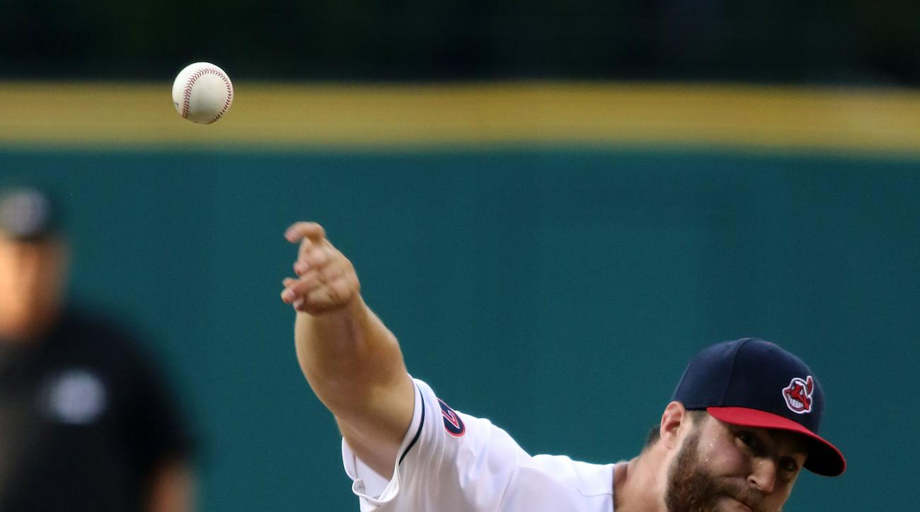 Cleveland Indians Cody Anderson pitches in the first inning of a baseball game against the Minnesota Twins, Friday, Aug. 7, 2015, in Cleveland. (AP Photo/Aaron Josefczyk)