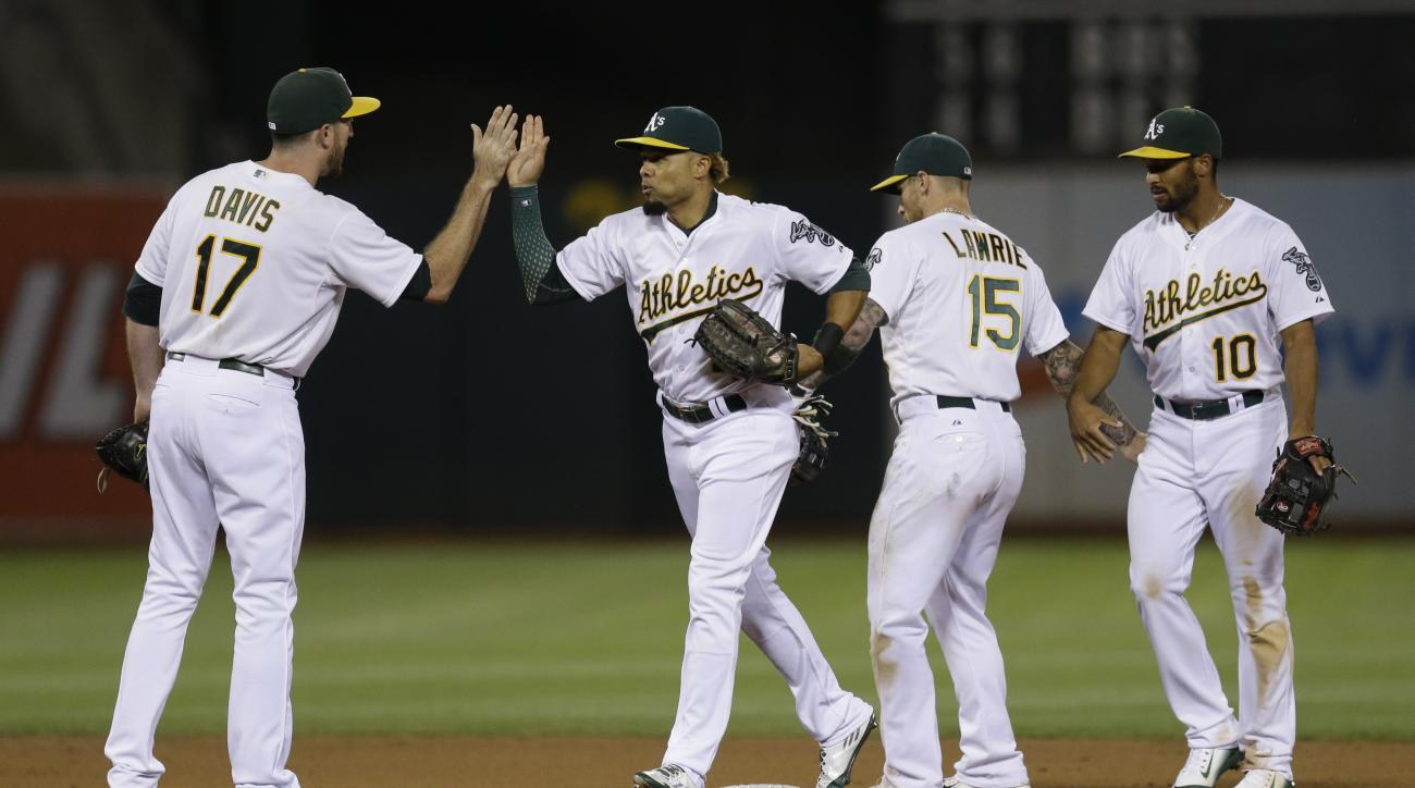Oakland Athletics' Ike Davis, Coco Crisp, Brett Lawrie, and Marcus Semien, from left, celebrate the team's 3-1 victory over the Houston Astros in a baseball game Friday, Aug. 7, 2015, in Oakland, Calif. (AP Photo/Ben Margot)