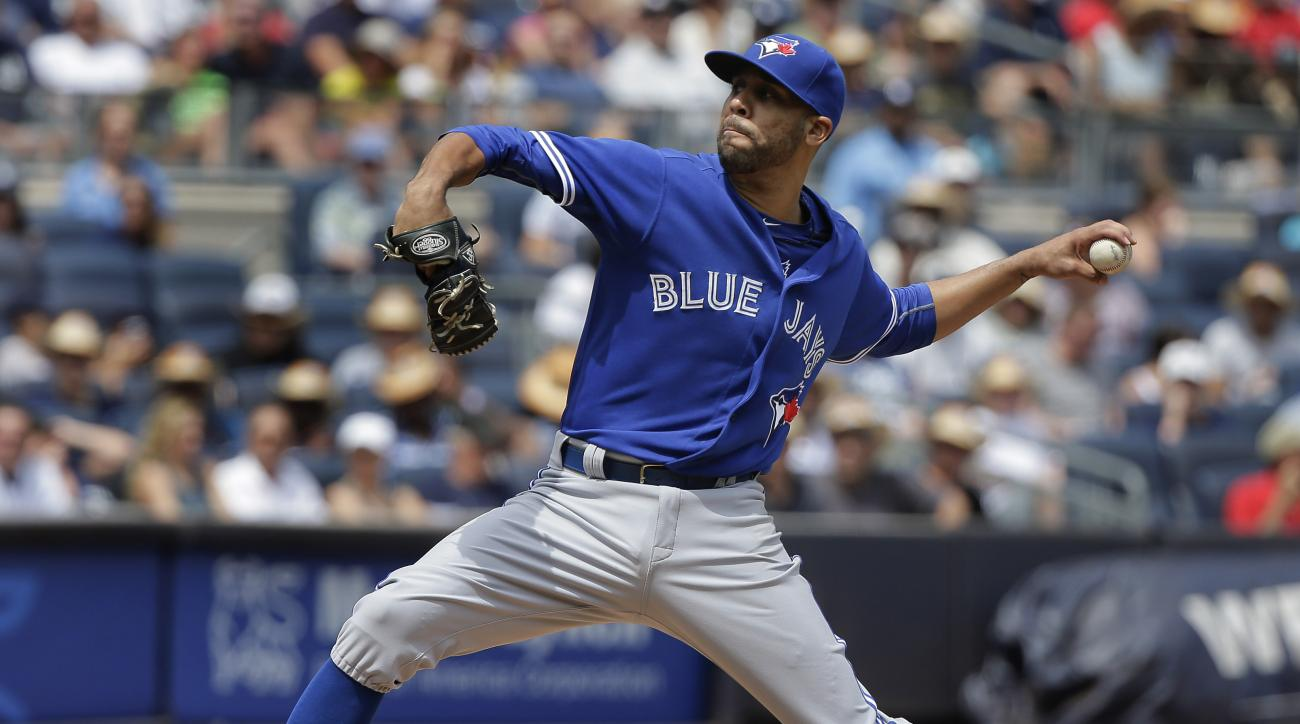 Toronto Blue Jays pitcher David Price delivers against the New York Yankees during the second inning of a baseball game, Saturday, Aug. 8, 2015, in New York. (AP Photo/Julie Jacobson)