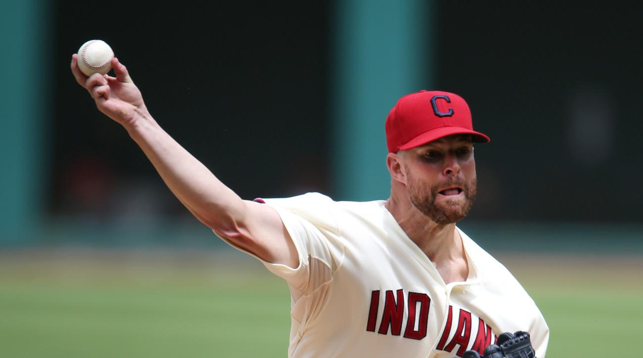 Cleveland Indians starting pitcher Corey Kluber throws to Minnesota Twins' Brian Dozier during the first inning of a baseball game, Sunday, Aug. 9, 2015, in Cleveland. (AP Photo/Ron Schwane)