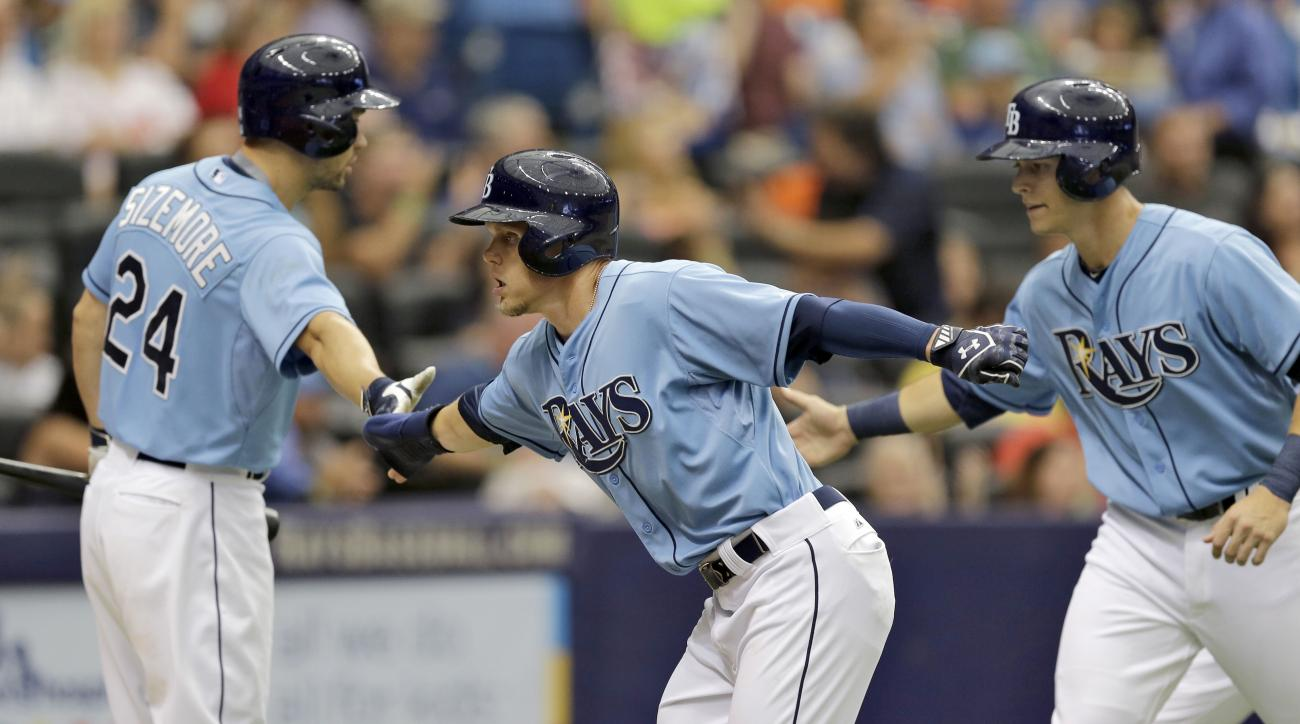Tampa Bay Rays' Brandon Guyer, center, and Richie Shaffer, right, celebrate with on-deck batter Grady Sizemore after scoring on a two-run double by John Jaso during the fifth inning of an interleague baseball game Sunday, Aug. 9, 2015, in St. Petersburg,