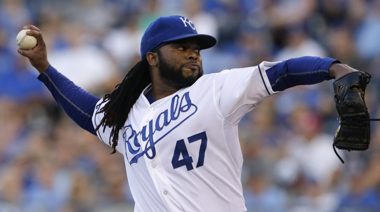 Kansas City Royals starting pitcher Johnny Cueto delivers to a Detroit Tigers batter during the first inning of a baseball game at Kauffman Stadium in Kansas City, Mo., Monday, Aug. 10, 2015. (AP Photo/Orlin Wagner)