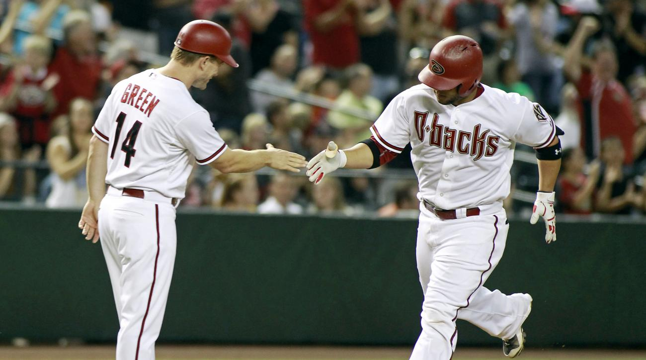 Arizona Diamondbacks' Welington Castillo, right, is congratulated by third base coach Andy Green after hitting a solo home run against the Philadelphia Phillies during the fifth inning of a baseball game, Monday, Aug. 10, 2015, in Phoenix. (AP Photo/Ralph