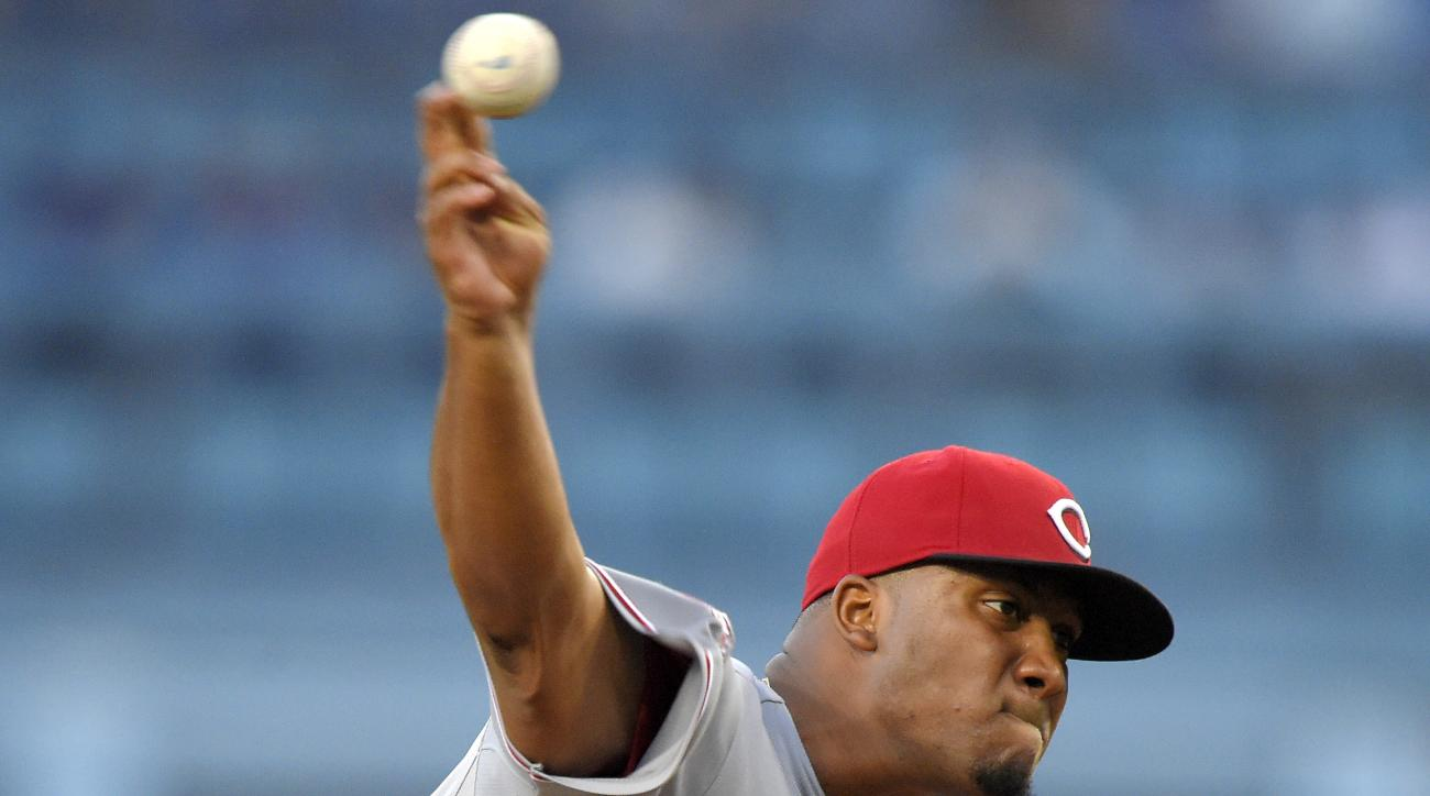 Cincinnati Reds starting pitcher Keyvius Sampson throws to the plate during the first inning of a baseball game against the Los Angeles Dodgers, Thursday, Aug. 13, 2015, in Los Angeles. (AP Photo/Mark J. Terrill)