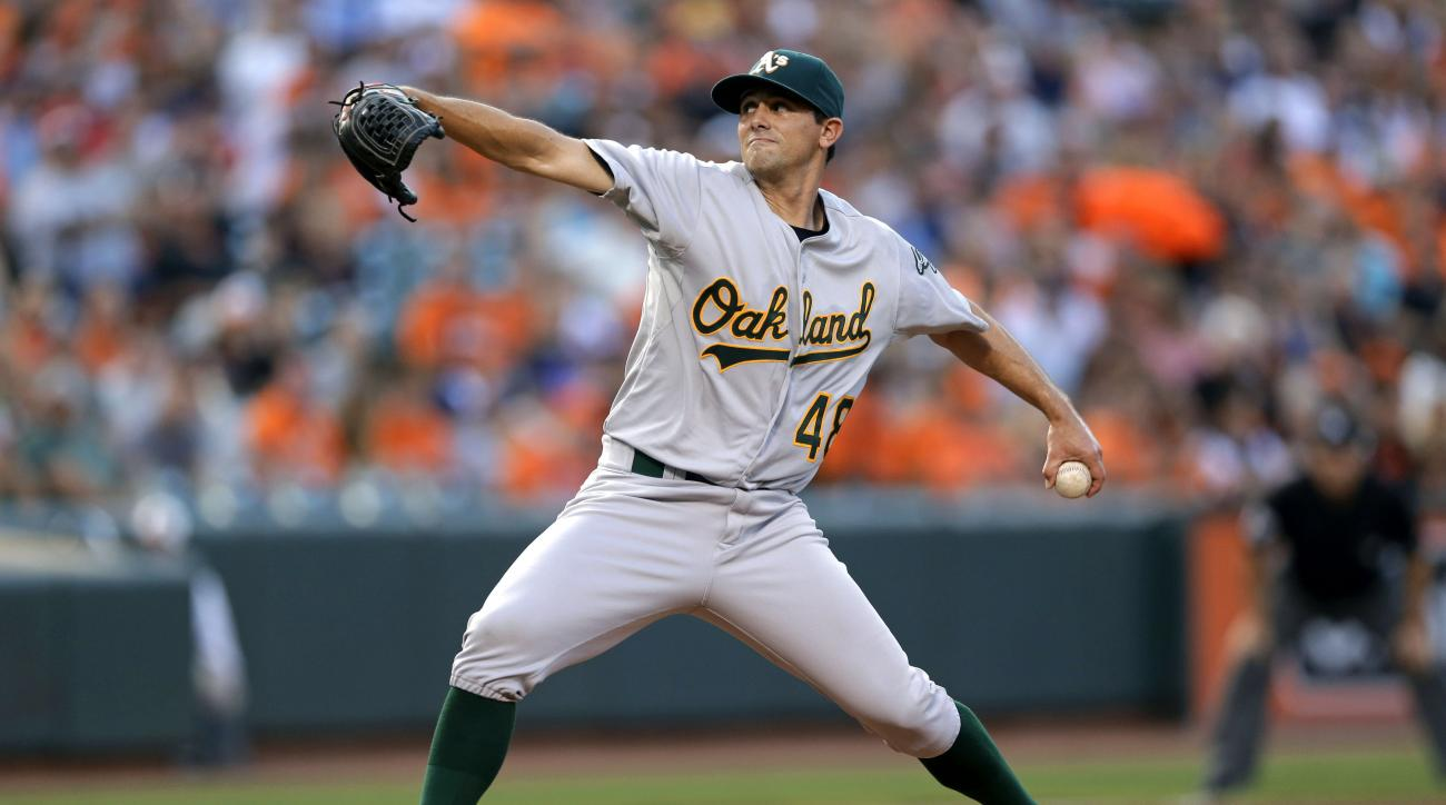 Oakland Athletics starting pitcher Brad Mills throws to the Baltimore Orioles during the first inning of a baseball game, Friday, Aug. 14, 2015, in Baltimore. (AP Photo/Patrick Semansky)