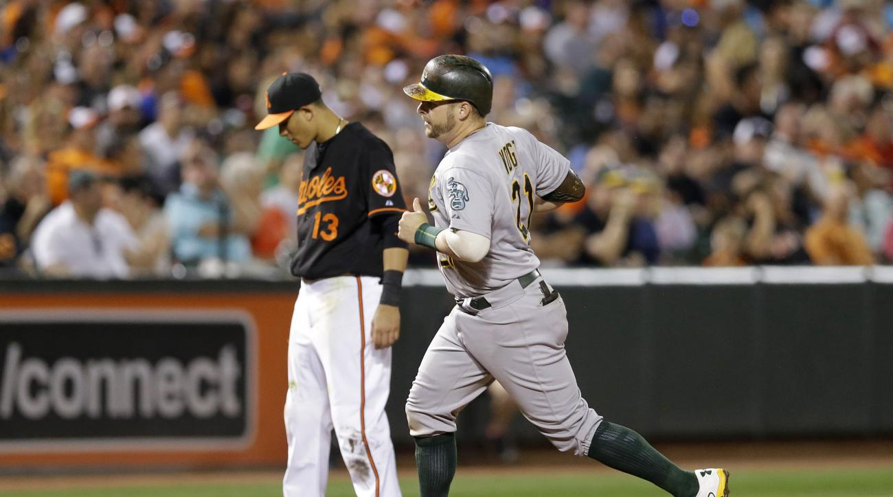 Oakland Athletics' Stephen Vogt, right, rounds the bases past Baltimore Orioles third baseman Manny Machado after hitting a two-run home run during the fifth inning of a baseball game, Friday, Aug. 14, 2015, in Baltimore. (AP Photo/Patrick Semansky)