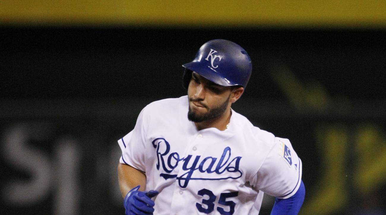 Kansas City Royals' Eric Hosmer rounds the bases after hitting a two-run home run in the sixth inning of a baseball game against the Los Angeles Angels at Kauffman Stadium in Kansas City, Mo., Friday, Aug. 14, 2015. (AP Photo/Colin E. Braley)