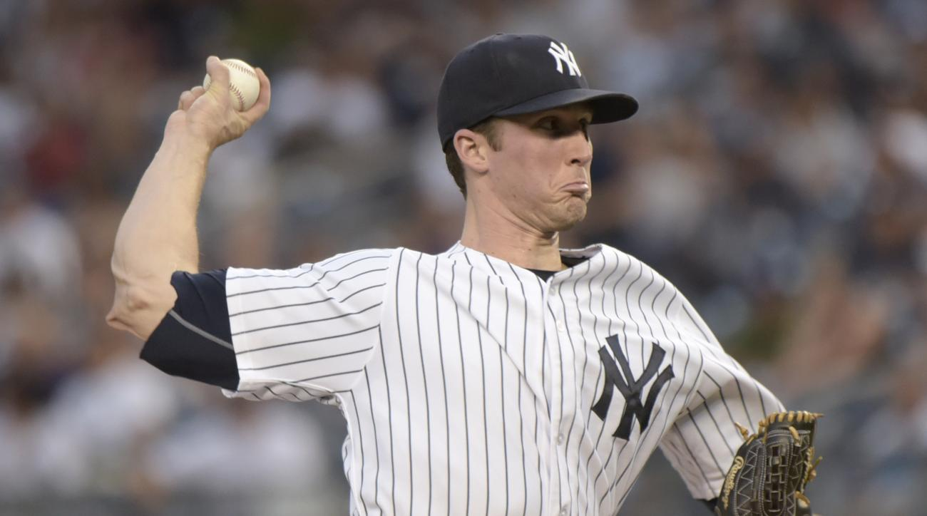 New York Yankees pitcher Bryan Mitchell delivers the ball to the Minnesota Twins during the first inning of a baseball game Monday, Aug 17, 2015, at Yankee Stadium in New York. (AP Photo/Bill Kostroun)