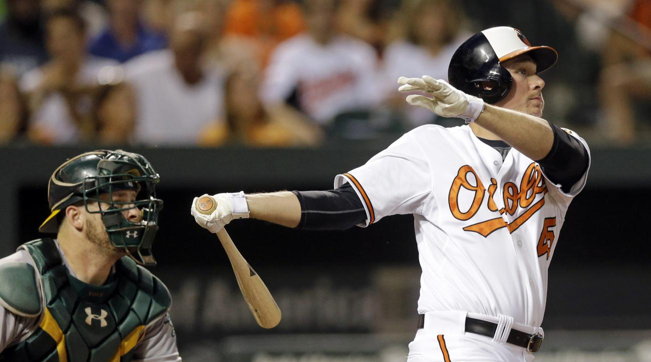Baltimore Orioles' Steve Clevenger, right, watches his three-run home run in front of Oakland Athletics catcher Stephen Vogt in the fourth inning of a baseball game, Monday, Aug. 17, 2015, in Baltimore. (AP Photo/Patrick Semansky)